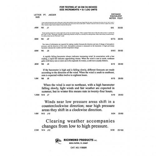 Jaeger Reading Chart English Text 1 Chart 40 Cm 1 Chart Va