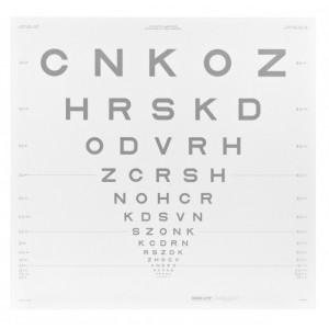 ETDRS Kontrasttafel - SLOAN Buchstaben 25 %, 4 m
