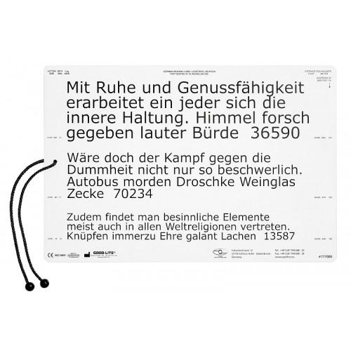 Lesetafel, deutscher Text