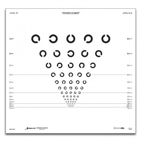 ETDRS-Tafel Landoltringe8 Positionenm, 3 m Prüfdistanz, gemischte Anordnung