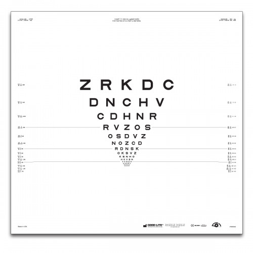"ETDRS ""2000""-Serie Tafel ""2"" Buchstaben 2 m"