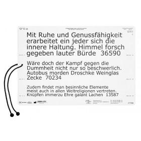 Lesetafel Low-Vision, deutscher Text (Schrifttyp Verdana)