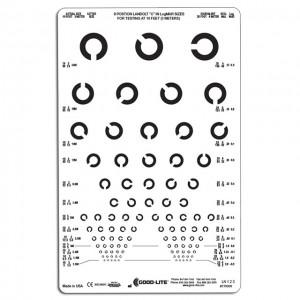 Lichtdurchl. Sehtafel Landoltringe (3 m), 3 m Prüfdistanz, 8 Positionen (gemischte Anordnung)