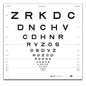"""ETDRS """"2000""""-Tafel """"2"""", Buchstaben 4 m"""