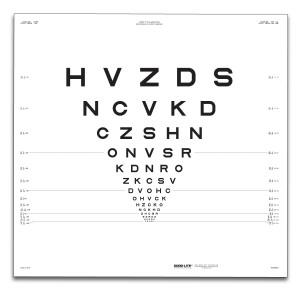 "ETDRS Originalserie Tafel ""R"", Buchstaben 3 m"