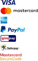 Payment Methods VISA Mastercard American-Express PayPal giropay Saferpay Mastercard-SecureCode